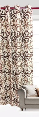 India Furnish Polycotton Coffee Floral Eyelet Long Door Curtain
