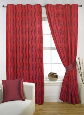 Kings Polycotton Red Solid Tab Top Door Curtain