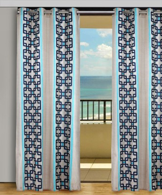 Home Aid Polyester Beige-Blue Geometric Eyelet Door Curtain