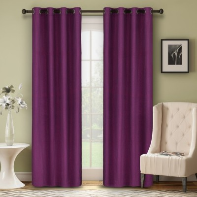 Soumya Polycotton Purple Plain Eyelet Long Door Curtain