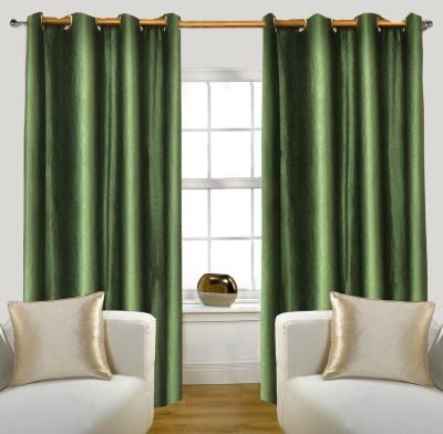 Glamora Interiors Polyester Green Plain Curtain Window & Door Curtain