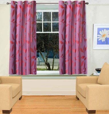 Trendy Home Polyester Pink Printed Eyelet Window Curtain