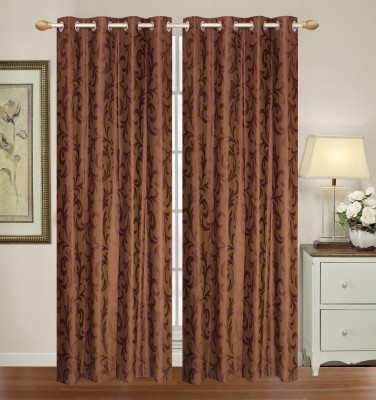 Yellow Weaves Polyester Brown Floral Eyelet Door Curtain