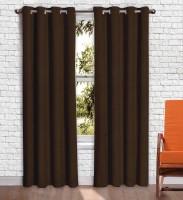 Story@Home Jacquard Dark Brown Printed Eyelet Window Curtain(152 cm in Height, Pack of 2)