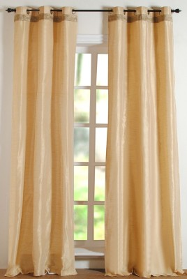 Deco Window Polyester Beige Floral Eyelet Long Door Curtain