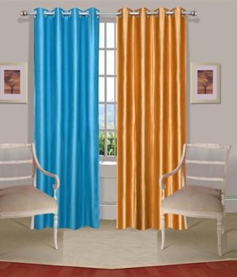 Fogg Polyester Blue, Gold Printed Eyelet Door Curtain