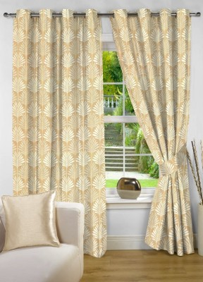 NuHome Decor Polyester Beige Floral Eyelet Window Curtain