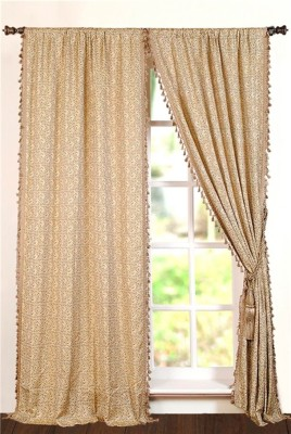 Deco Window Jacquard Beige, Black Printed Eyelet Door Curtain