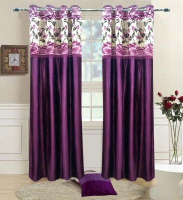 Homefab India Polyester Lavender Abstract Eyelet Window Curtain