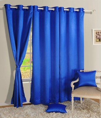 Style Maniac Polyester Blue Plain Eyelet Window Curtain