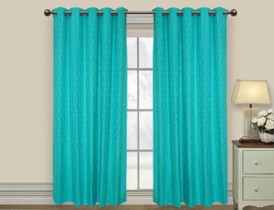 Elan Cotton Blue Motif Eyelet Long Door Curtain