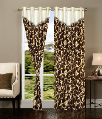 Home And Craft Polyester Gold Floral Eyelet Door Curtain