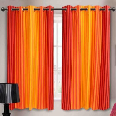 Elan Cotton Orange Striped Eyelet Window Curtain