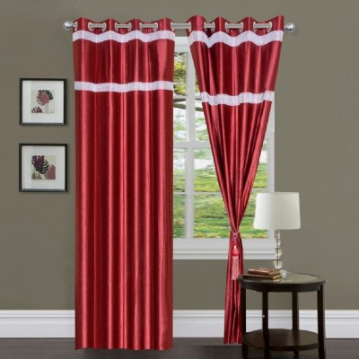 Deco Home Polyester Maroon Plain Curtain Door Curtain