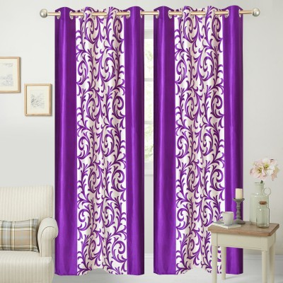 Handy Texty Polyester Purple Printed Eyelet Window Curtain