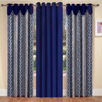La elite Polyester Blue Abstract Eyelet Long Door Curtain