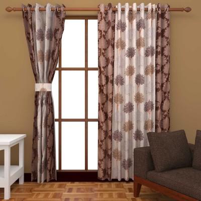 Kanha Polyester Brown Floral Eyelet Long Door Curtain