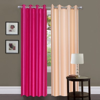 Brand Decor Polyester Pink, Beige Solid Eyelet Window Curtain