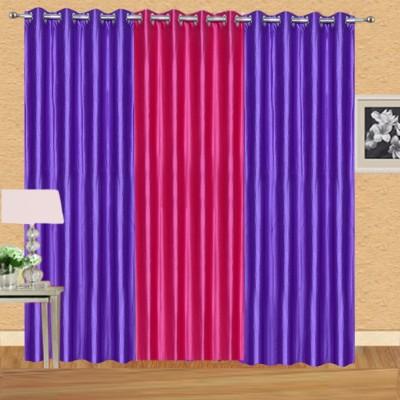 Excel Bazaar Polycotton Purple-1darkpink Plain Eyelet Door Curtain