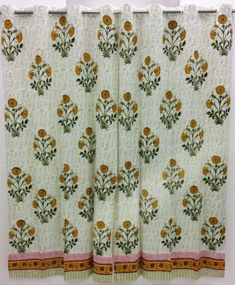 Ethnic Rajasthan Cotton White-Yellow Floral Ring Rod Window Curtain