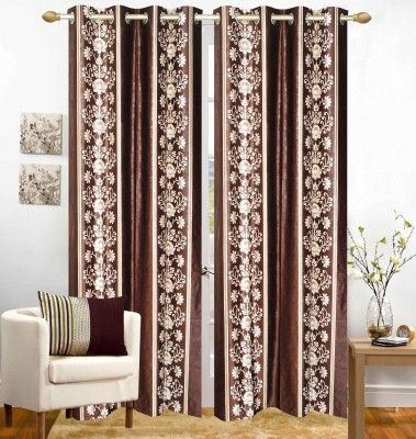 Homefab India Polyester Brown Floral Eyelet Door Curtain