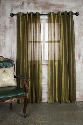Marigold Polyester Dark Green Self Design Eyelet Door Curtain