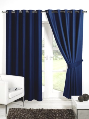 Homec Polyester Navy Solid Eyelet Door Curtain