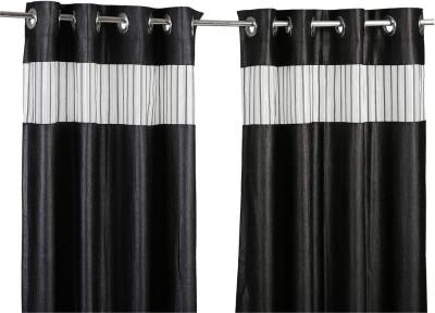 Store17 Polyester Black Self Design Ring Rod Window Curtain