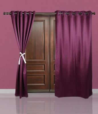 Just Linen Polyester Medium Purple Plain Eyelet Door Curtain