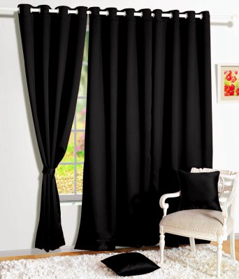 Story @ Home Silk Black Solid Eyelet Window Curtain