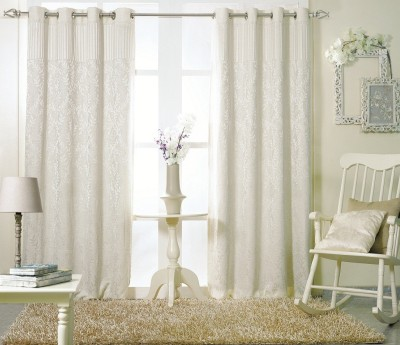 KC HOME Polycotton White Floral Curtain Window Curtain