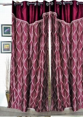 HandloomVilla Polyester Mehroon Floral Eyelet Door Curtain