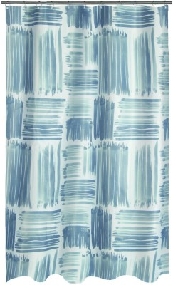 Spread Polyester Blue Printed Eyelet Shower Curtain