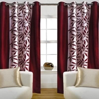 Harry Tex Polyester Maroon Floral Eyelet Door Curtain