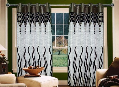 Home Creations Polyester Brown Floral Eyelet Door Curtain