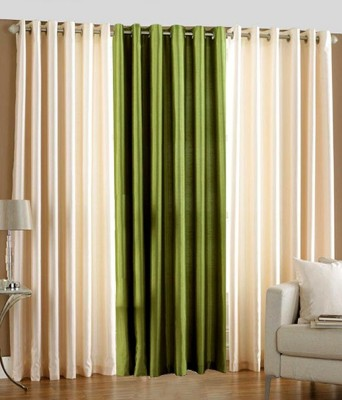 White Wave Polyester Beige, Green Solid Eyelet Long Door Curtain