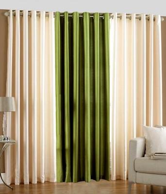 Pendu Art Polyester Green Plain Eyelet Long Door Curtain