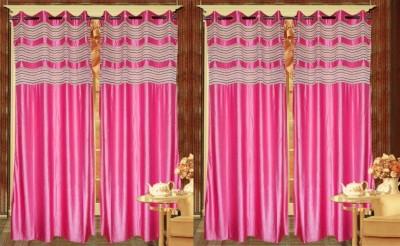 Rangoli Polyester Pink Self Design Eyelet Door Curtain