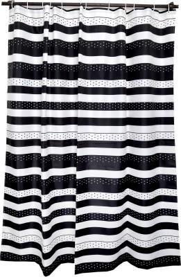 Skap Polyester White Striped Eyelet Shower Curtain