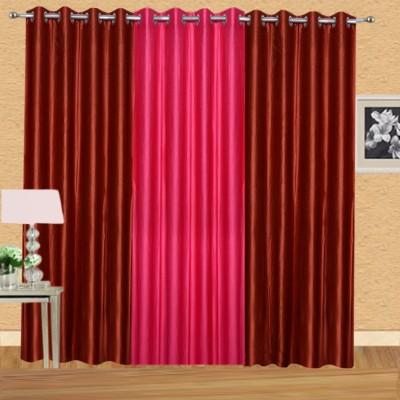 Excel Bazaar Polycotton Rust-1darkpink Plain Eyelet Door Curtain
