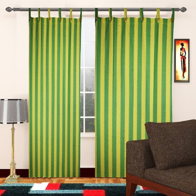 TG Shoppers Cotton Green, Yellow Striped Curtain Door Curtain