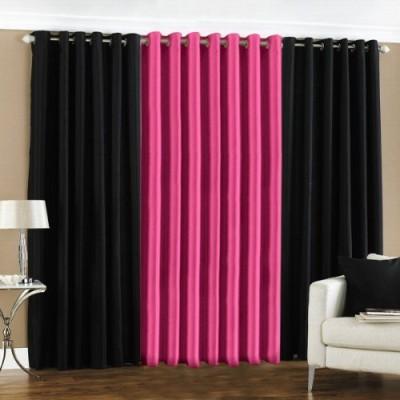 sajaawat Polyester BLACK:PINK Solid Eyelet Door Curtain