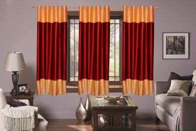 Batham Sales Blends Maroon Plain Eyelet Window Curtain
