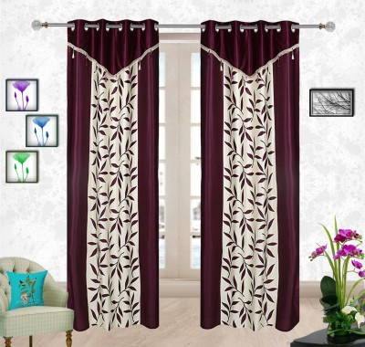 Comfort Zone Polyester Purple And White Leaf Abstract Eyelet Long Door Curtain