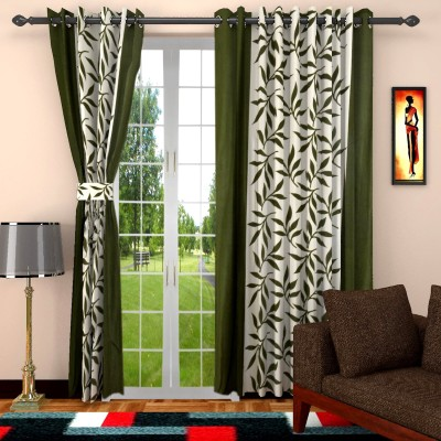 Home Castle Polyester Multicolor Floral Eyelet Door Curtain