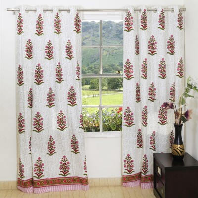 Ethnic Rajasthan Cotton White-Pink Floral Ring Rod Window Curtain