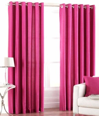 Angel Homes Polyester Pink Floral Eyelet Door Curtain