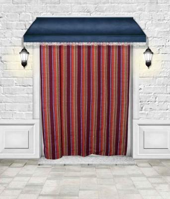Lukluck Cotton Maroon Abstract Ring Rod Door Curtain