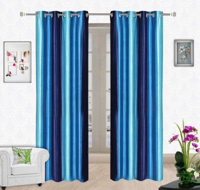 Comfort Zone Polyester Sky Blue And Dark Blue Solid Eyelet Long Door Curtain