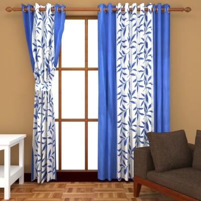 Handy Texty Polyester Dark Blue Printed Eyelet Long Door Curtain